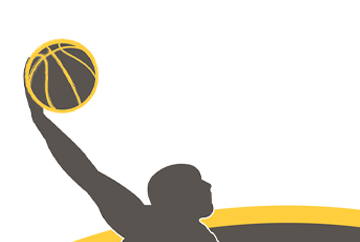 FabCom designed this 3-color logo featuring a basketball player silhouette dunking the ball for a local adult sports team.