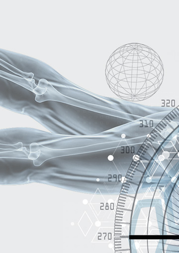 High-resolution zoomed in image showing intricate design detail of an image that appears on a page of the website FabCom developed for a biomechanics company.