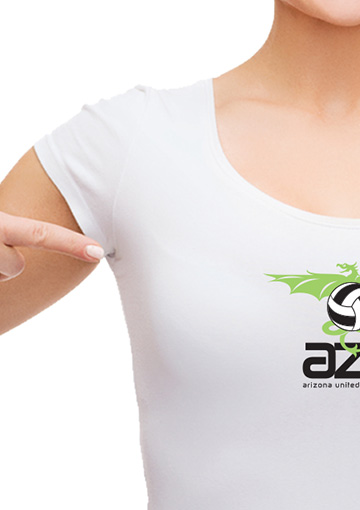 Zoomed in high-resolution image of a women wearing a white t-shirt with the Arizona United volleyball logo.