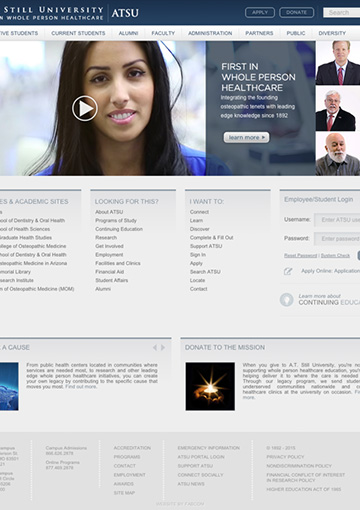 Close up image of healthcare institute website page developed by FabCom Integrated Strategic Marketing.
