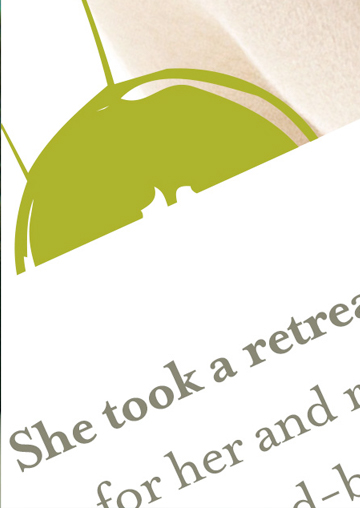High-resolution zoomed-in image of text used in a print ad that was devloped by FabCom which is written in green and grey on a white background.