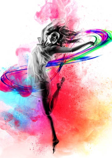 Water color of woman dancing with RAADfest infiniti logo
