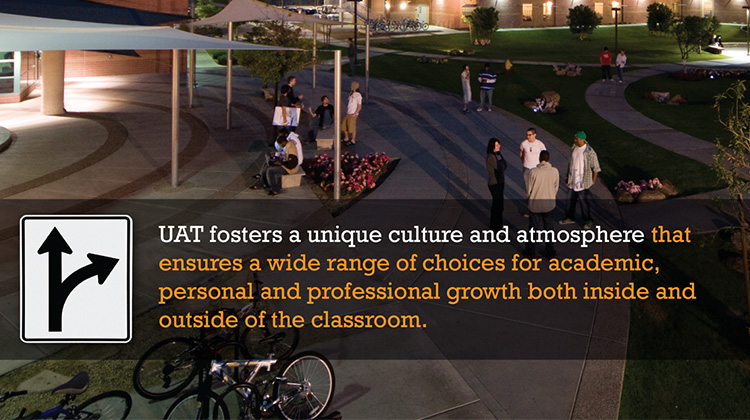 From UAT's Parent's Guide, an image of the campus quad is shown at night with students hanging out.