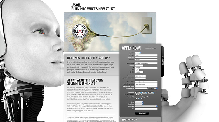 FabCom's image of tree plugging into electrical socket on a backdrop of a personified robot emphasizes this personalized URL (PURL) page that includes a request for information form.