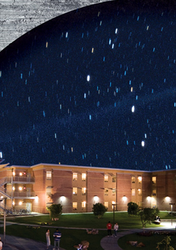 Zoomed in image showing the intricate design detail of an HTML that FabCom created for a technology university's brand loyalty campaign. Image features a starry sky over one of the university's buildings.